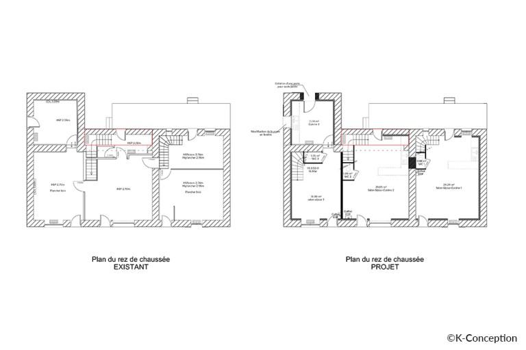 Plan avant-après d'un réaménagement. Transformation d'une boulangerie en logements. Plan du rez-de-chaussée.