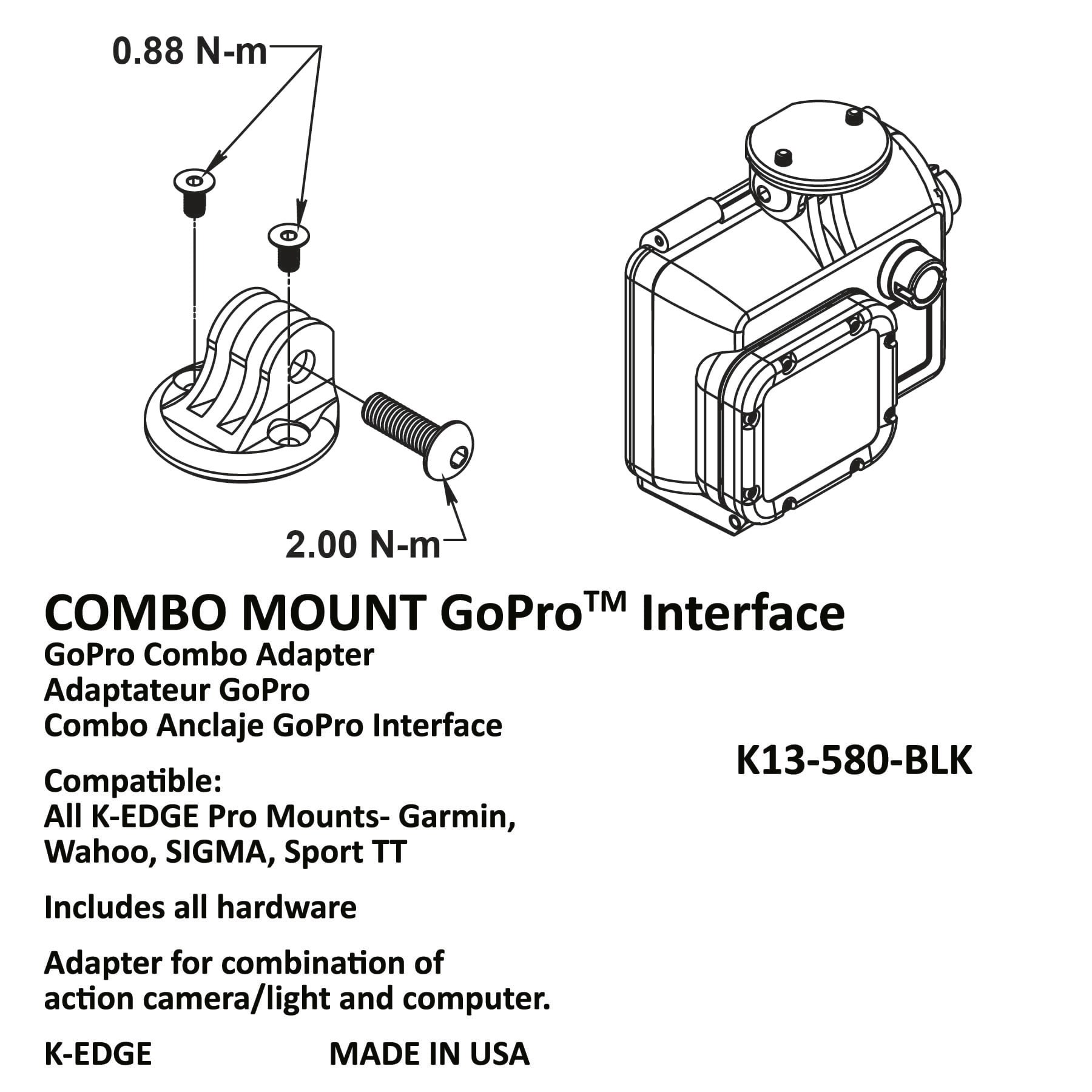 K-EDGE GoPro Combo Mount Interface