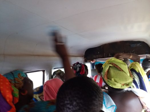 K in Motion Travel Blog. How Many People Were Squeezed in This Van From Dakar to the Border in Senegal?