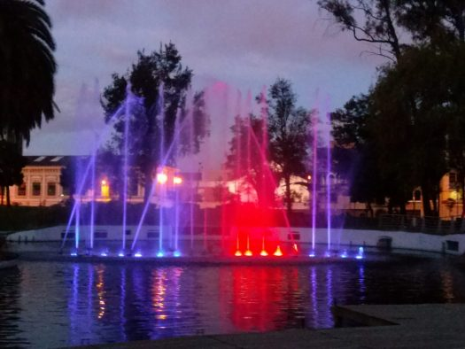 K in Motion Travel Blog. Ecudaor - Journey to the Middle of the World. Lit Up Fountain, Parque La Carolina, Quito, Ecuador