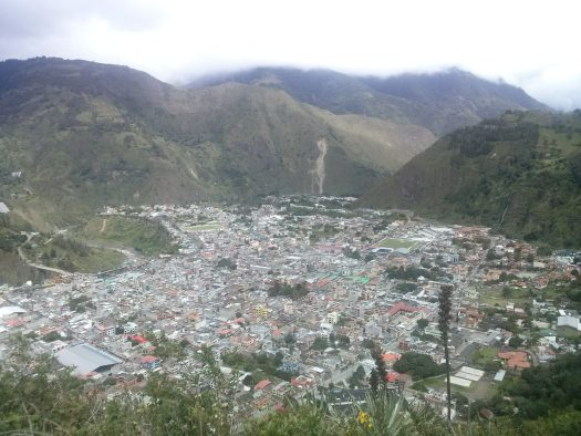 K in Motion Travel Blog. Baños - A Crazy Little Town in Ecuador. Banos from the hiking Trail to Casa del Arbor, Ecuador