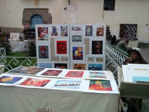 K in Motion Travel Blog. Art Display Andean Mountain Town of Cusco, Cuzco Peru