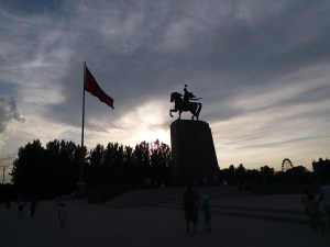 K in Motion Travel Blog. Eastern Kyrgyzstan. Bishkek City Centre. Horse and Flag