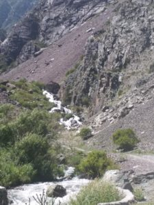 K in Motion Travel Blog. Silk Road to Southwestern Kyrgyzstan. Roadside Waterfall into the Kara-Balta River