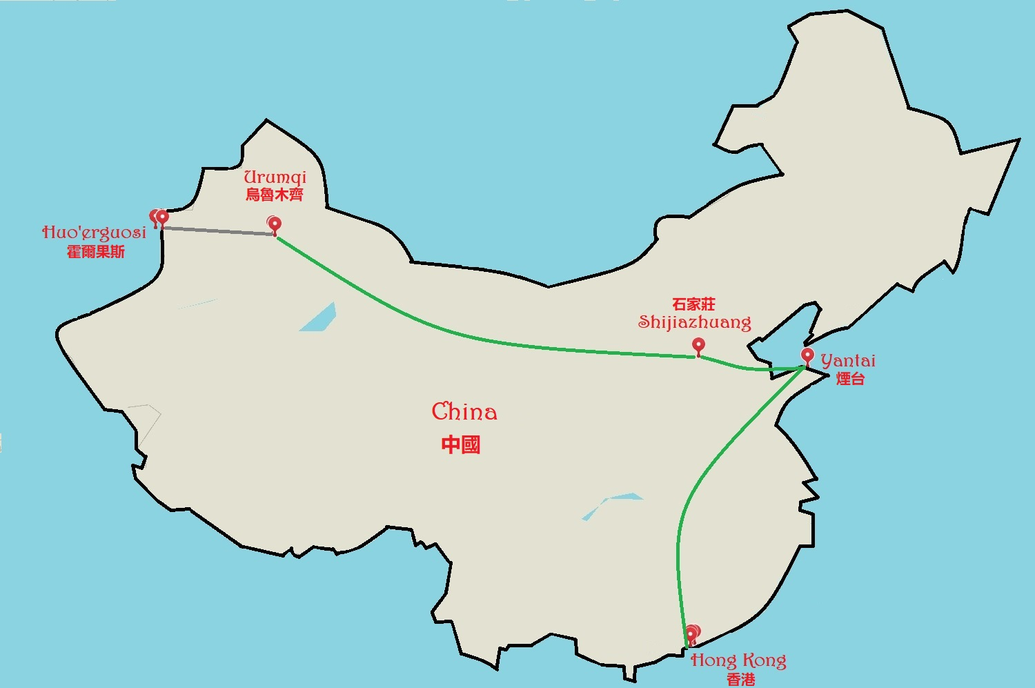 K in Motion Travel Blog. Journey to Kazakhstan via China. Travel Map.