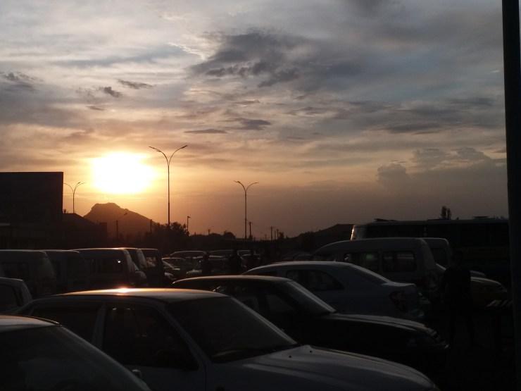 K in Motion Travel Blog. Kyrgyzstan to Uzbekistan via Dostyk Border Crossing. Uzbekistan Sunset from Taxi Station