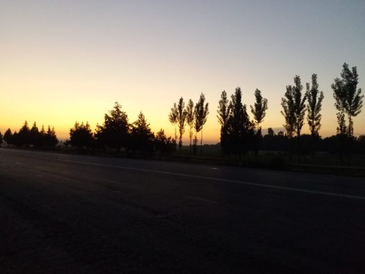 K in Motion Travel Blog. Unbelievable Uzbekistan. Sunset on the Road From Fergana to Andijon