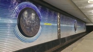 K in Motion Travel Blog. Underrated Uzbekistan. Tashkent Metro Station Decorations. Male Cosmonauts