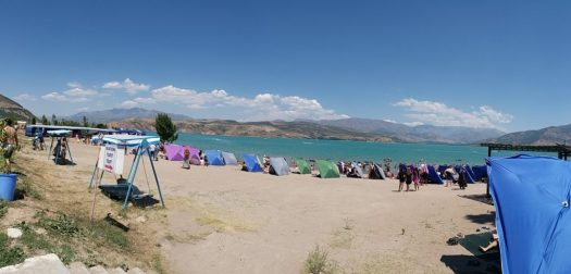 K in Motion Travel Blog. Underrated Uzbekistan. Super Crowded Beach at Lake Charvaq