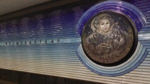 K in Motion Travel Blog. Underrated Uzbekistan. Tashkent Metro Station Decorations. Female Cosmonaut
