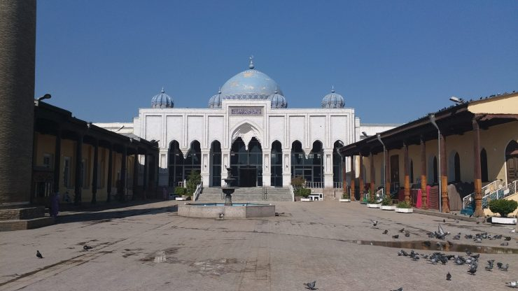 K in Motion Travel Blog. Tajikistan. Mosque across the square from the Market in Khujand