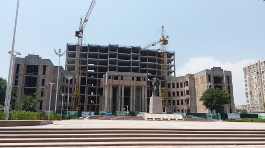 K in Motion Travel Blog. Travels in Tajikistan. Building Under Construction in the Dushanbe City Centre