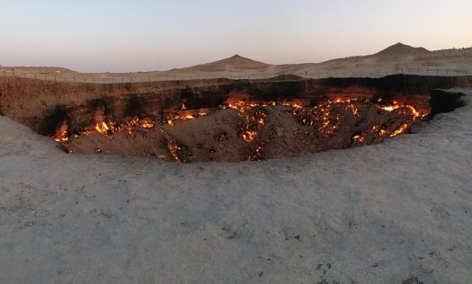 K in Motion Travel Blog. Travel to Turkmenistan - Frontier to Fire. Darvaza Gas Crater. Gate to Hell Around Sunset