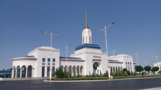 K in Motion Travel Blog. Travel to Turkmenistan - Overly Impressive Capital to Caspian Sea Port. Ashgabat Train Station