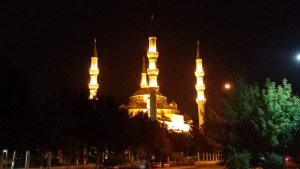 K in Motion Travel Blog. Travel to Turkmenistan - Overly Impressive Capital to Caspian Sea Port. Ashgabat. Mosque Lit Up at Night