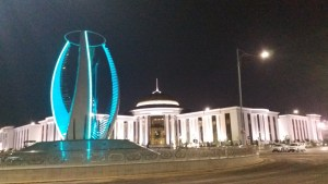 K in Motion Travel Blog. Travel to Turkmenistan - Overly Impressive Capital to Caspian Sea Port. Ashgabat. Monument Lit Up at Night