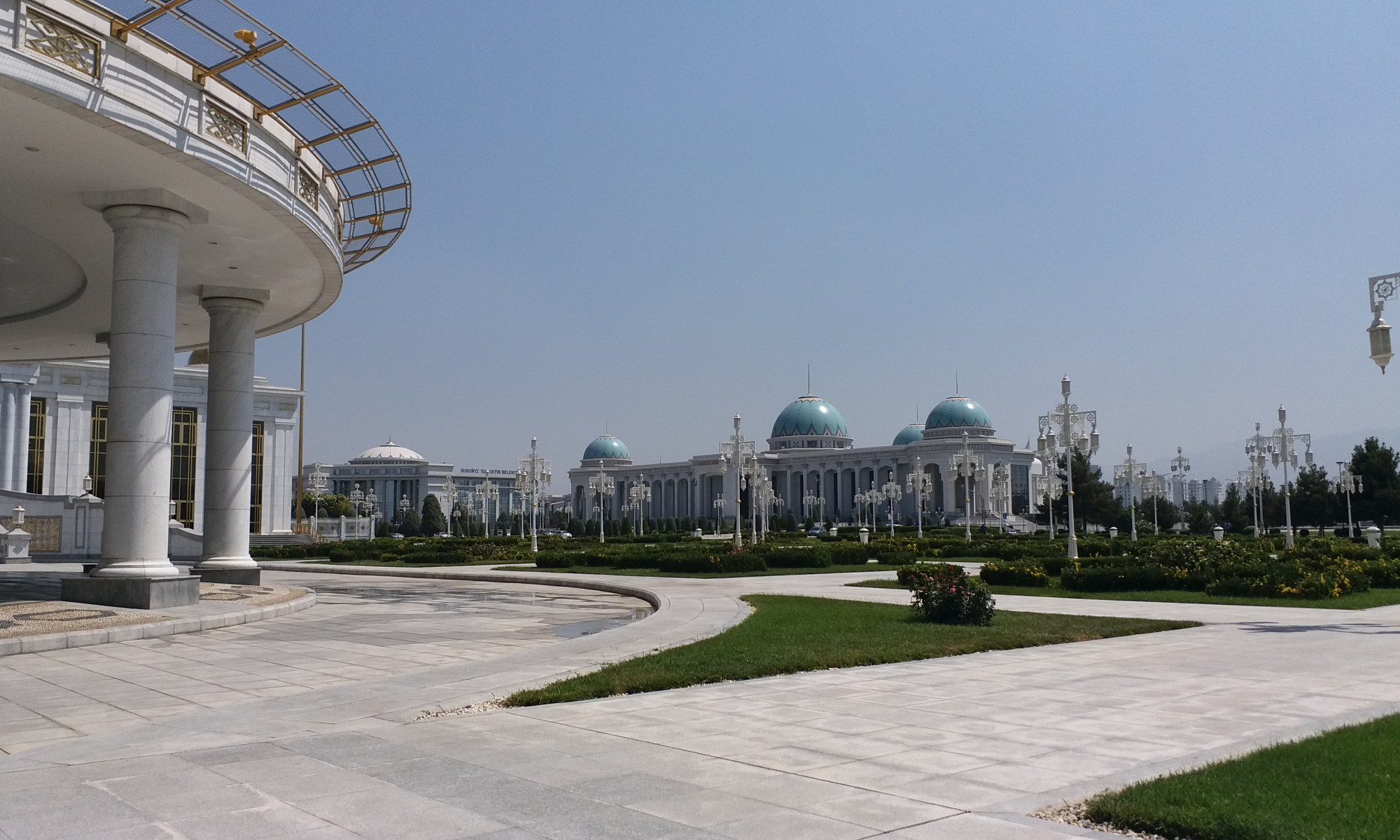 K in Motion Travel Blog. Travel to Turkmenistan - Overly Impressive Capital to Caspian Sea Port. Ashgabat White Domed Buildings