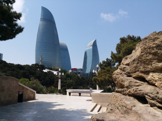 K in Motion Travel Blog. Beautiful Baku. Flame Towers From The HIll