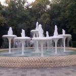 K in Motion Travel Blog. Beautiful Baku. Group of Small Fountains in Action