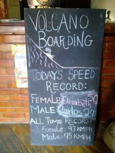 K in Motion Travel Blog. Love and Volcanoes in Nicaragua. Leon - Volcano Boarding Sign