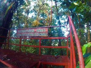 K in Motion Travel Blog. Mountain Adventures in Costa Rica. Monteverde Adventure Park Safety Briefing Platform