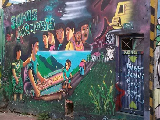 K in Motion Travel Blog. Contemporary Colombia Street Art. Bogota La Candelaria Memorial Mural