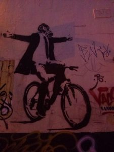 K in Motion Travel Blog. Contemporary Colombia Street Art. Bogota Bicycle Stencil