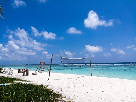 K in Motion Travel Blog. Travelling the Maldives on a Budget. Hulhumale Volleyball Beach