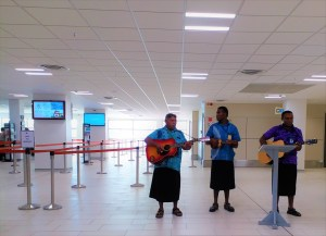 K in Motion Travel Blog. Friends and Festivities in Fiji. Airport Serenade in Nadi