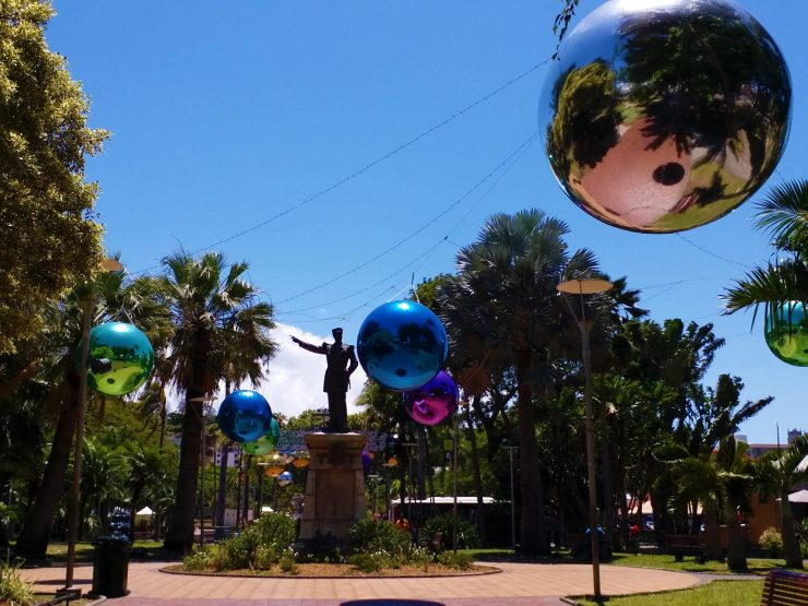 New Caledonia A Piece Of Europe in the South Pacific. Coconut Square Christmas Baubles and Statue