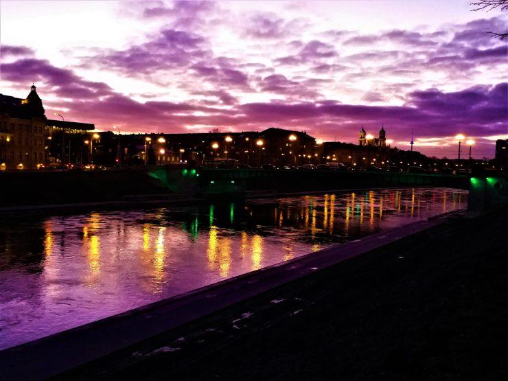 K in Motion Travel Blog. Around the World in Sunsets. Neris River, Vilnius