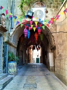 K in Motion Travel Blog. Religious Sites and Nature of Northern Israel. Nazareth Old Town Passage With Decorations