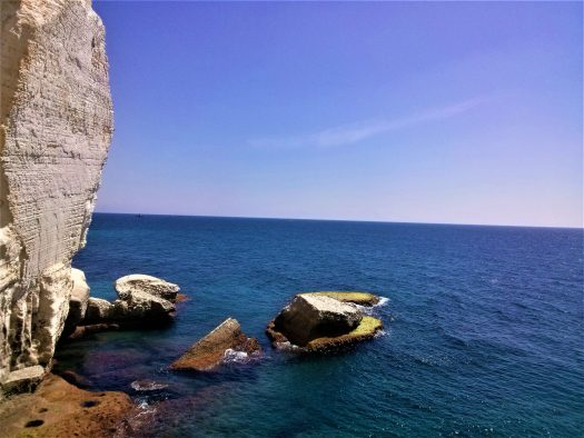 K in Motion Travel Blog. Historic and Natural Places to See in Northern Israel. Rocks Near Rosh Hanikra Grottoes