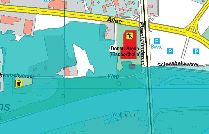 Screenshot der Überschwemmungsgebiete vom Stadtportal Regensburg