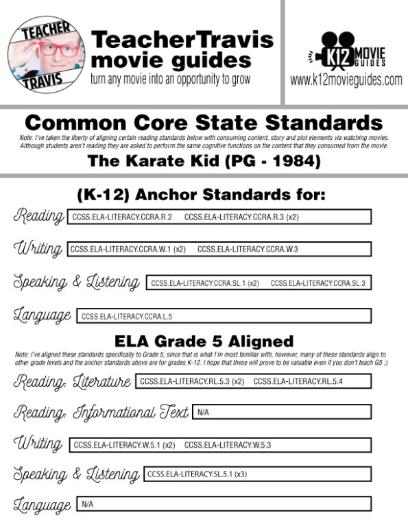 The Karate Kid Movie Guide   Questions   Worksheet (PG - 1984) CCSS Alignment