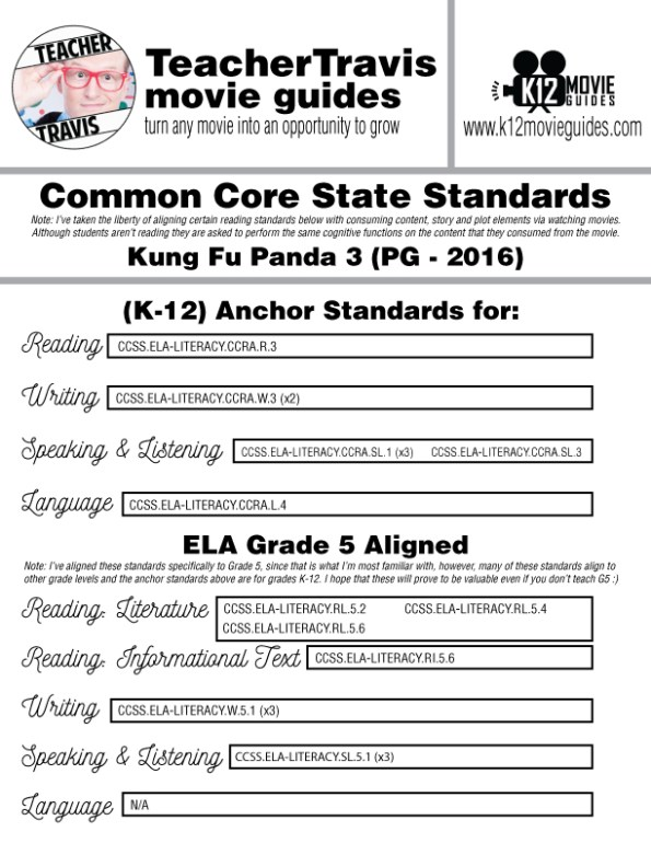 Kung Fu Panda 3 Movie Guide | Questions | Worksheet (PG - 2016) CCSS Alignment