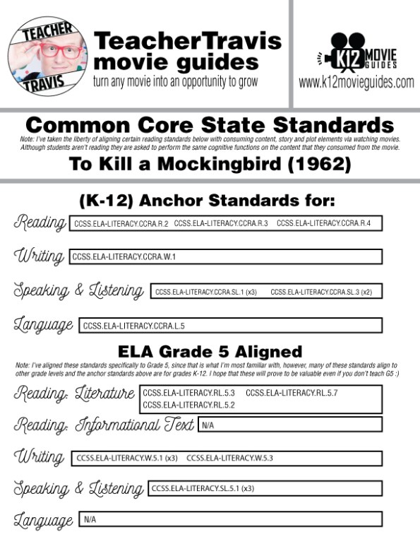 To Kill a Mockingbird Movie Guide | Questions | Worksheet (1962) CCSS Alignment