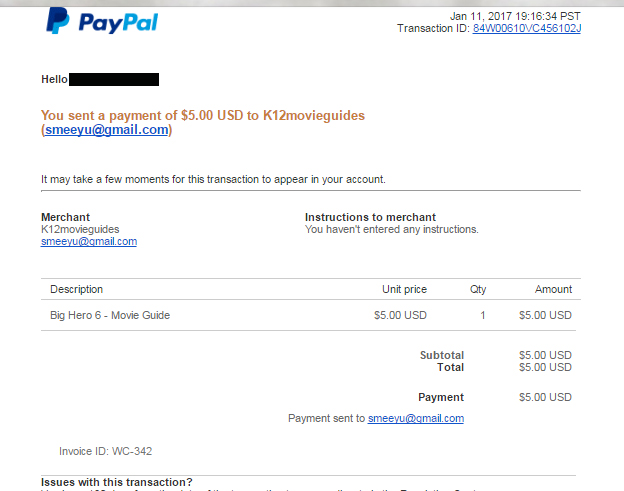 Step 7 - A receipt of your PayPal purchase will be sent to your inbox.