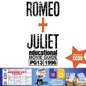 Romeo + Juliet Movie Guide | Questions | Worksheet (PG13 - 1996) Cover