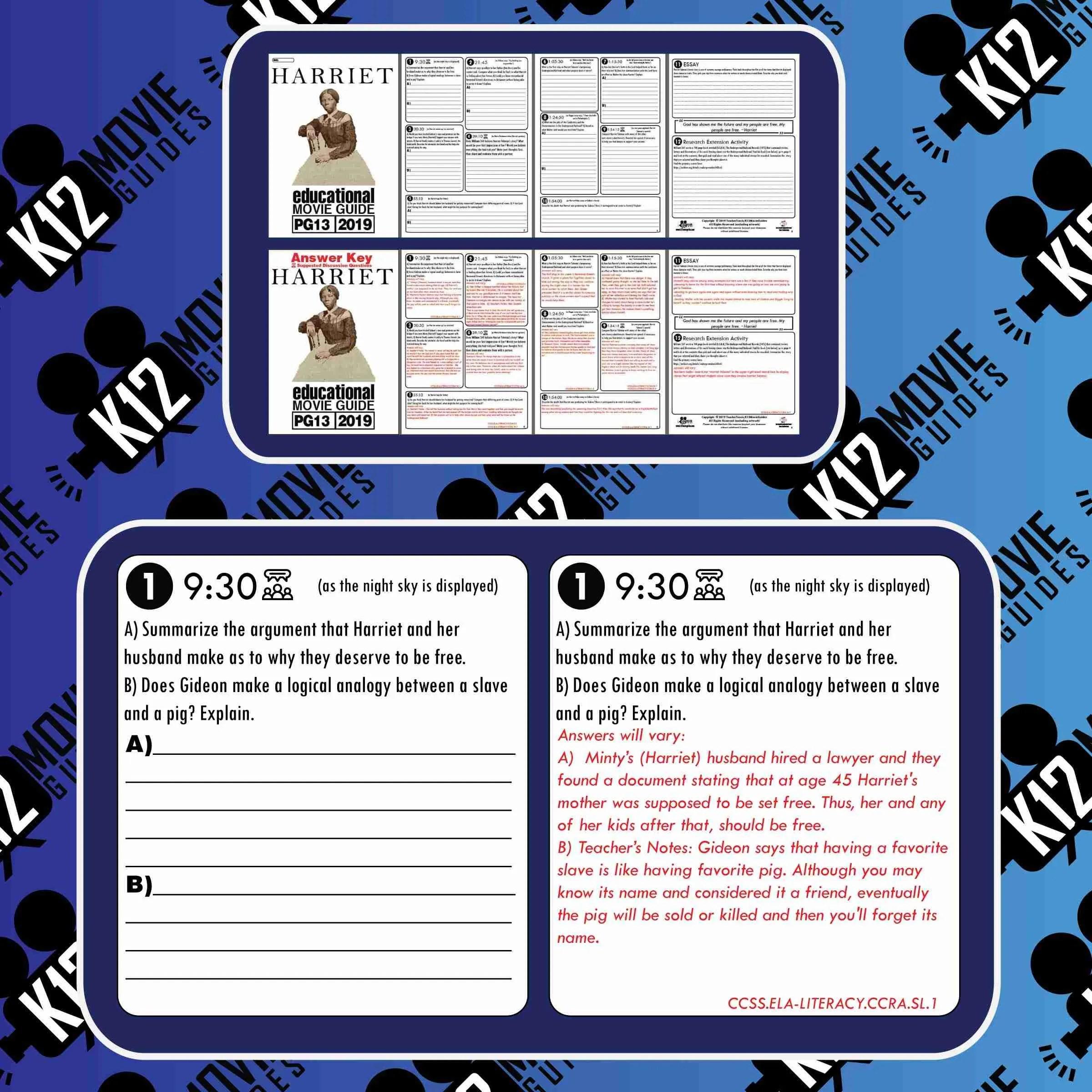 Harriet Movie Guide Questions Worksheet Pg13