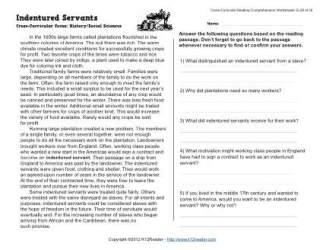 Indentured Servants Reading Worksheets Spelling Grammar Comprehension Lesson Plans