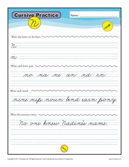 Cursive Letter N : cursive, letter, Cursive, Letter, Worksheets, Handwriting, Practice
