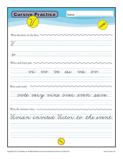 V In Cursive : cursive, Cursive, Letter, Worksheets, Handwriting, Practice