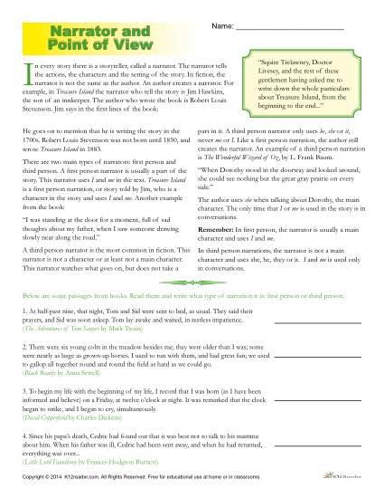 Point Of View Worksheet 1 : point, worksheet, Point, Worksheets, Narrator