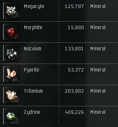 A weeks worth of refined minerals.