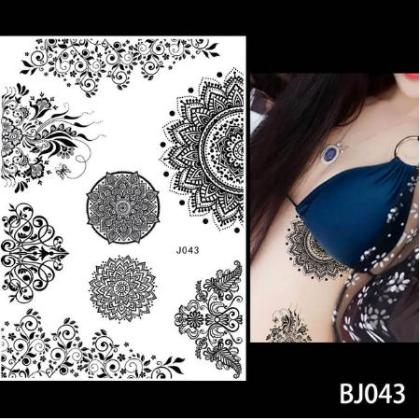 Waterproof Tattoo Women Black Ink Henna Jewel Henna Temporary Tattoo