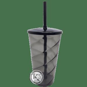 Copo Twister c/ tampa e canudo 500ml - Fume