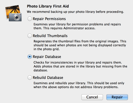 iPhoto Library First Aid