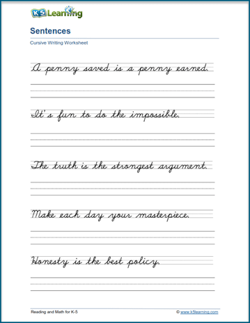 Cursive Writing Sentences : cursive, writing, sentences, Writing, Cursive, Sentences, Worksheets, Printable, Learning