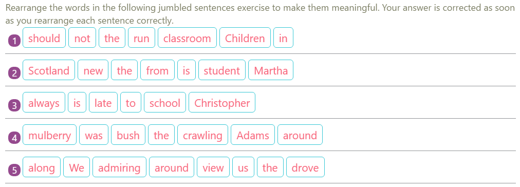 Jumbled Sentences Exercises 4  English Grammar Exercises